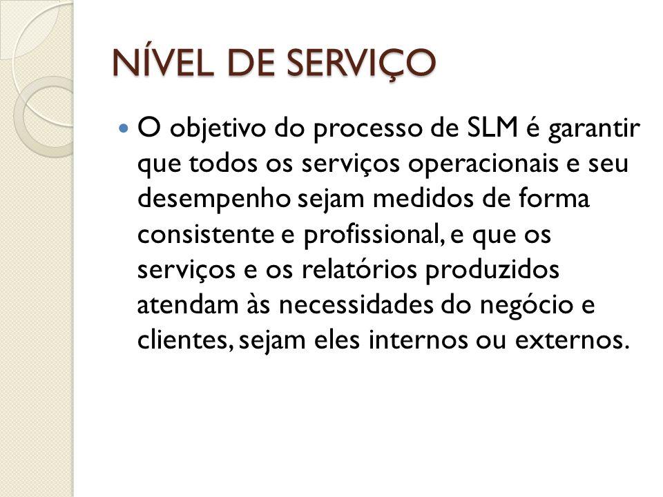 NÍVEL DE SERVIÇO O objetivo do processo de SLM é garantir que todos os serviços operacionais e seu desempenho sejam medidos de forma consistente e pro