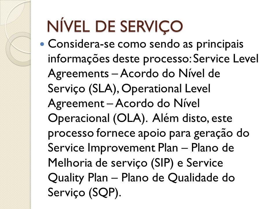 NÍVEL DE SERVIÇO Considera-se como sendo as principais informações deste processo: Service Level Agreements – Acordo do Nível de Serviço (SLA), Operat