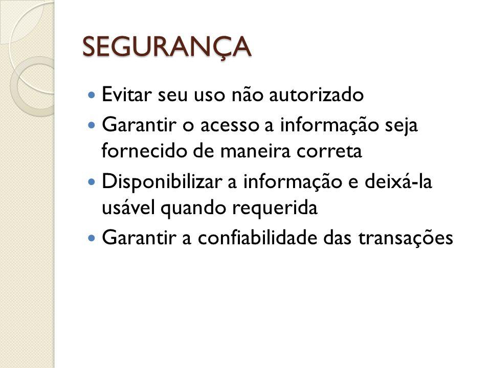 SEGURANÇA Evitar seu uso não autorizado Garantir o acesso a informação seja fornecido de maneira correta Disponibilizar a informação e deixá-la usável