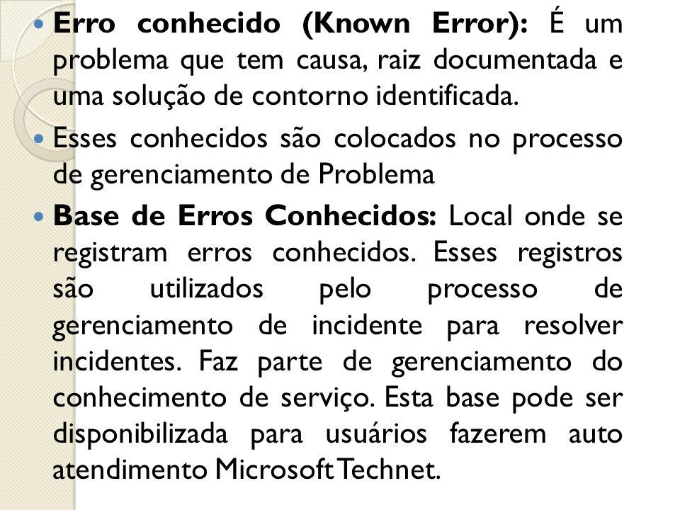Erro conhecido (Known Error): É um problema que tem causa, raiz documentada e uma solução de contorno identificada. Esses conhecidos são colocados no