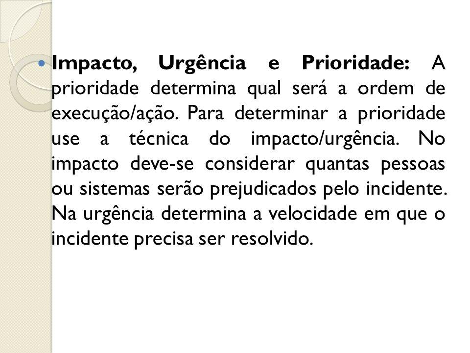 Impacto, Urgência e Prioridade: A prioridade determina qual será a ordem de execução/ação. Para determinar a prioridade use a técnica do impacto/urgên