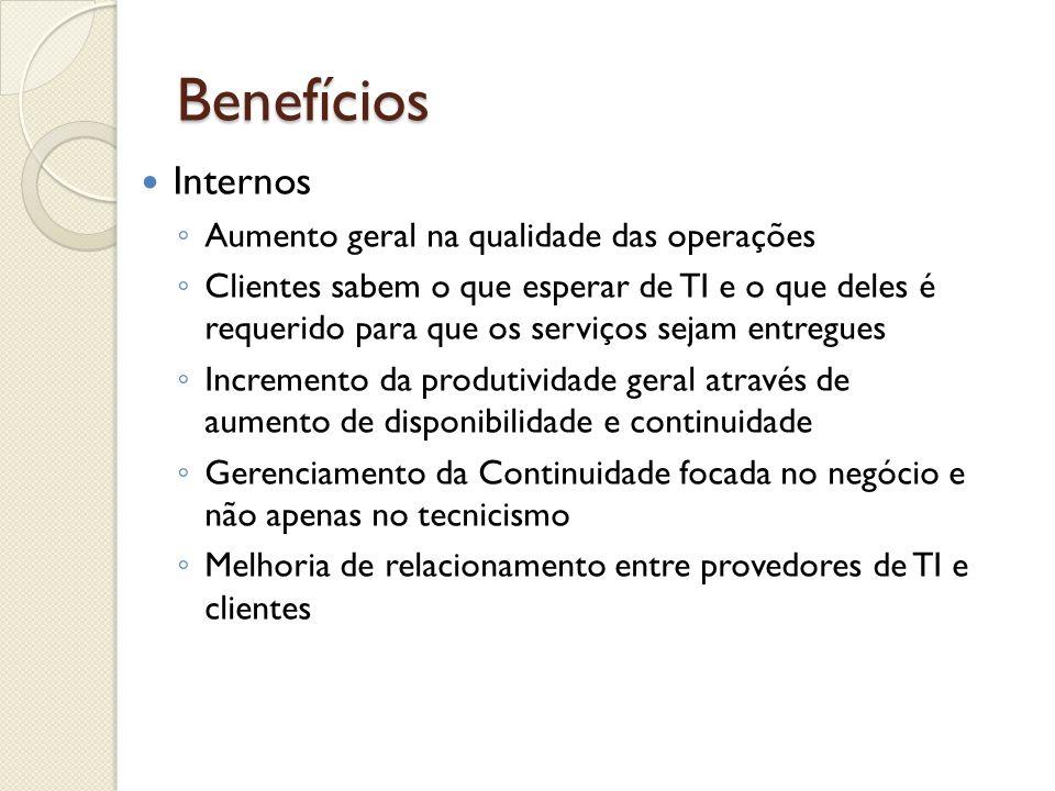 Benefícios Internos Aumento geral na qualidade das operações Clientes sabem o que esperar de TI e o que deles é requerido para que os serviços sejam e