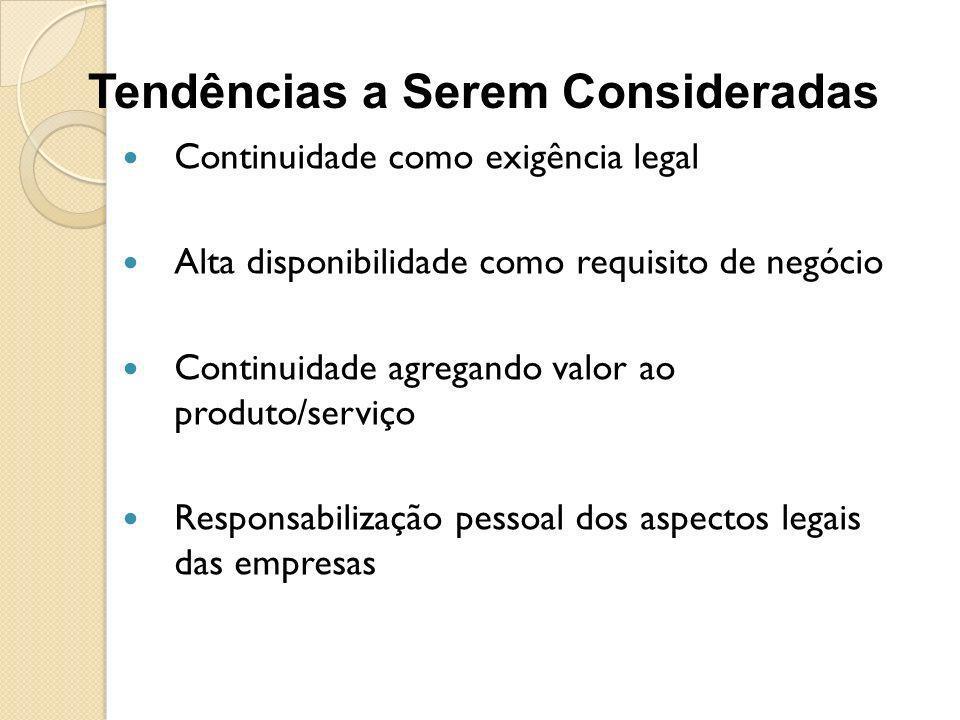Continuidade como exigência legal Alta disponibilidade como requisito de negócio Continuidade agregando valor ao produto/serviço Responsabilização pes