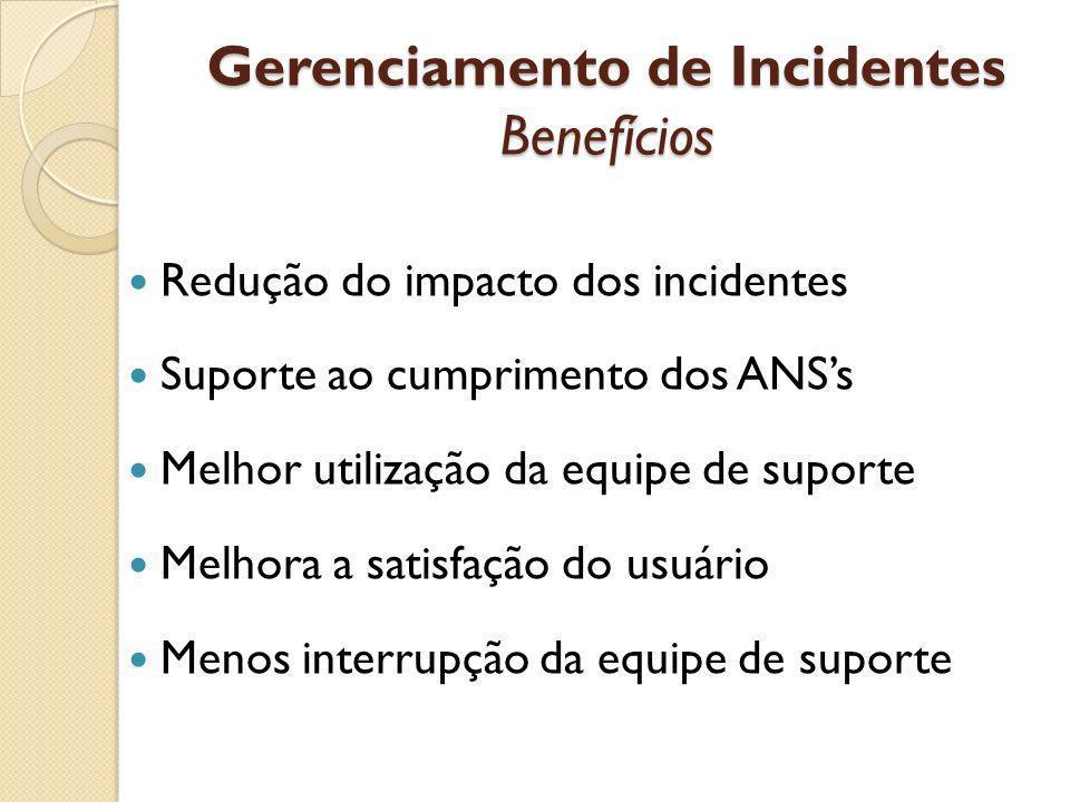 Gerenciamento de Incidentes Benefícios Redução do impacto dos incidentes Suporte ao cumprimento dos ANSs Melhor utilização da equipe de suporte Melhor