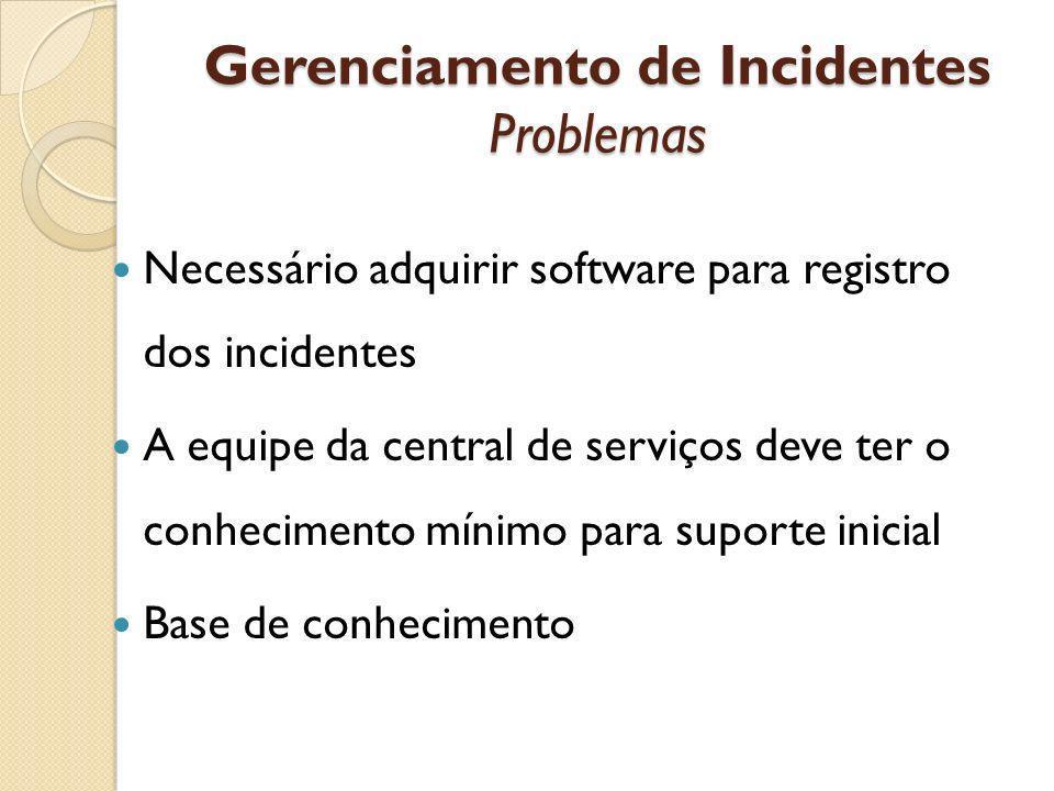 Gerenciamento de Incidentes Problemas Necessário adquirir software para registro dos incidentes A equipe da central de serviços deve ter o conheciment