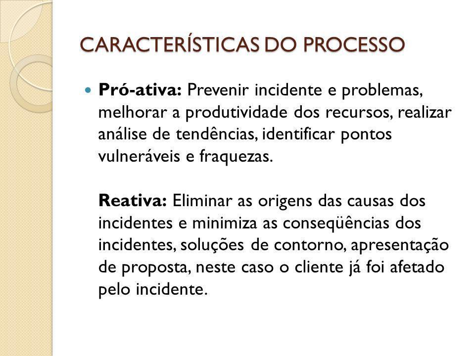 CARACTERÍSTICAS DO PROCESSO Pró-ativa: Prevenir incidente e problemas, melhorar a produtividade dos recursos, realizar análise de tendências, identifi