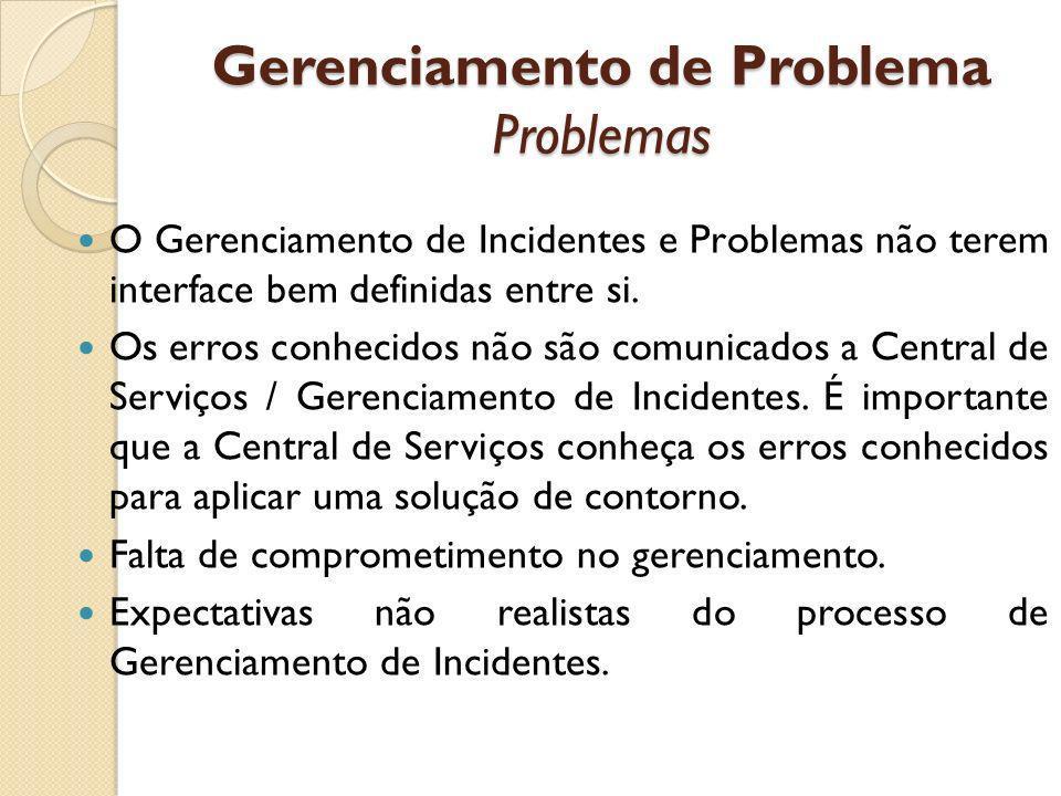 Gerenciamento de Problema Problemas O Gerenciamento de Incidentes e Problemas não terem interface bem definidas entre si. Os erros conhecidos não são
