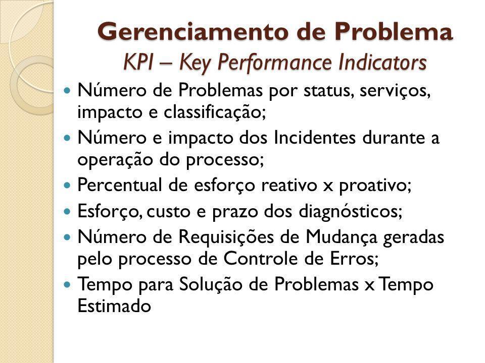 Gerenciamento de Problema KPI – Key Performance Indicators Número de Problemas por status, serviços, impacto e classificação; Número e impacto dos Inc