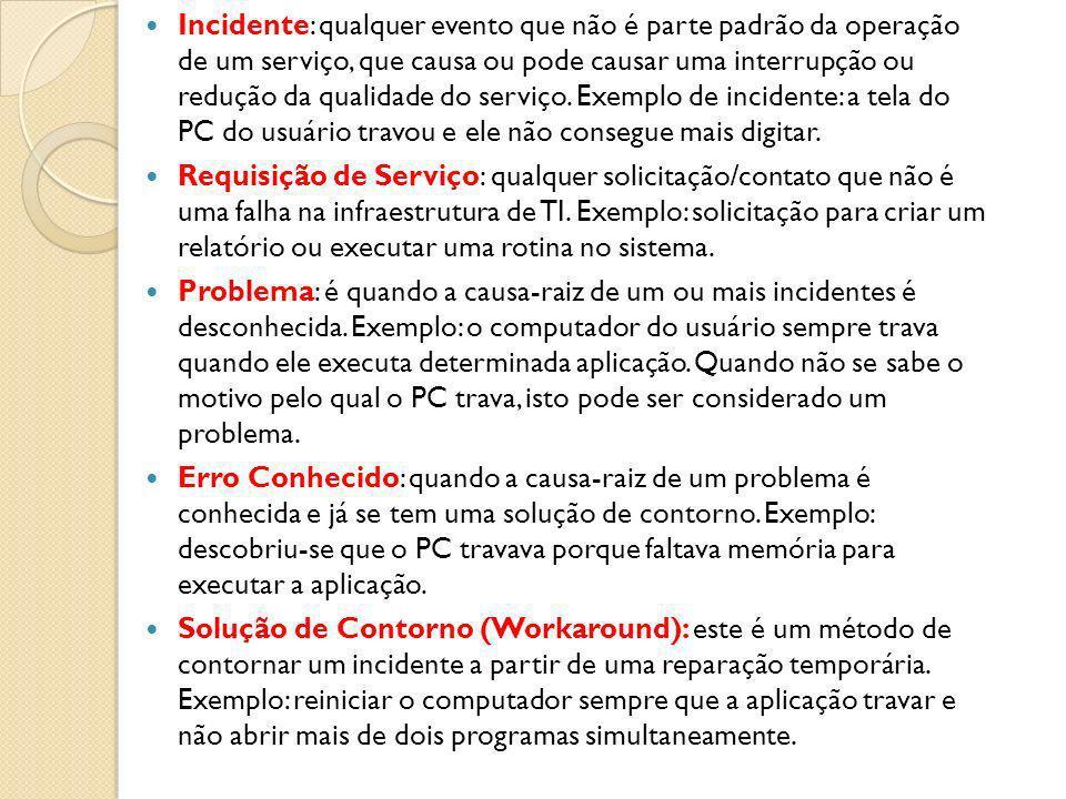 Incidente: qualquer evento que não é parte padrão da operação de um serviço, que causa ou pode causar uma interrupção ou redução da qualidade do servi