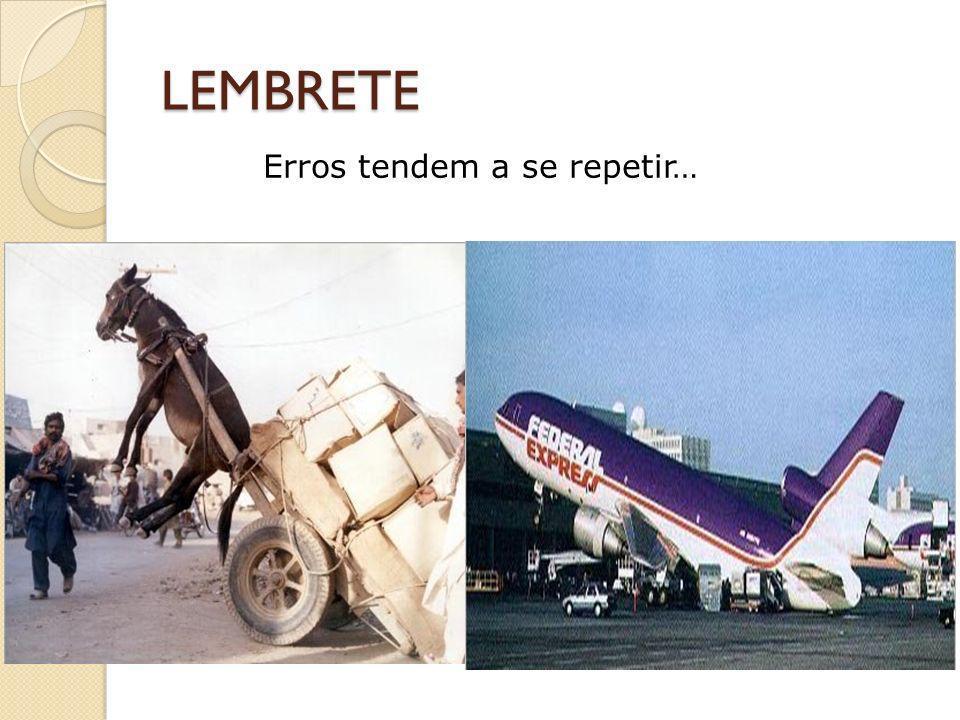 LEMBRETE Erros tendem a se repetir…