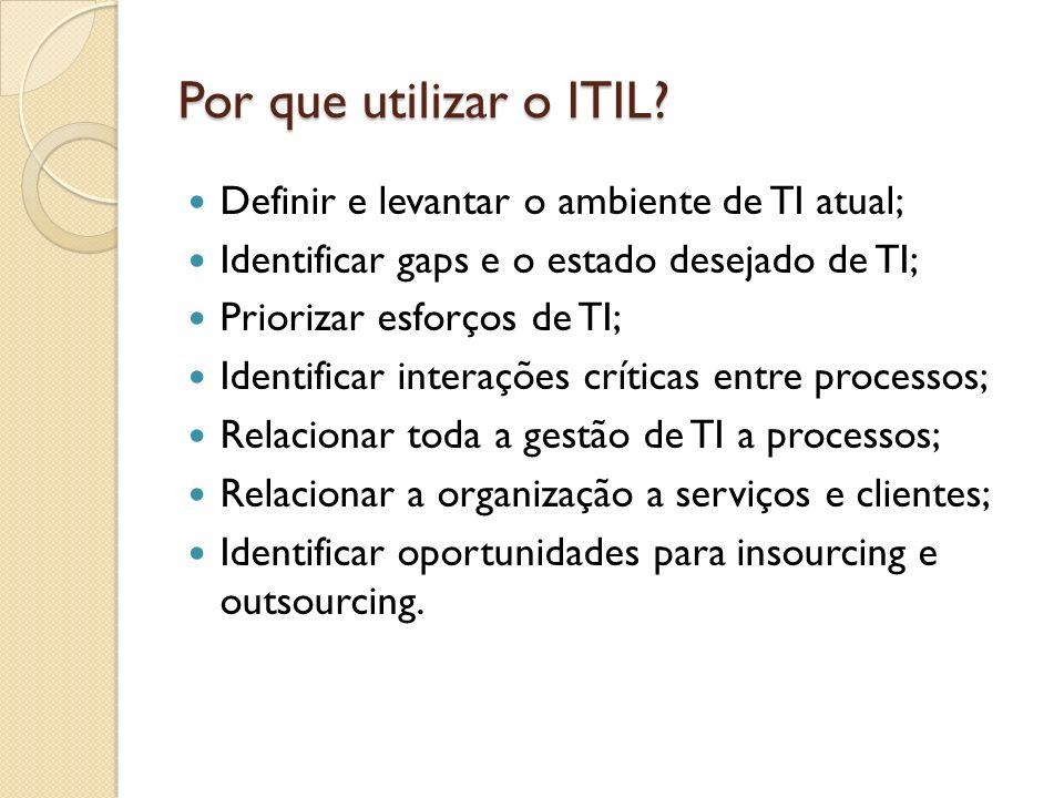 Por que utilizar o ITIL? Definir e levantar o ambiente de TI atual; Identificar gaps e o estado desejado de TI; Priorizar esforços de TI; Identificar