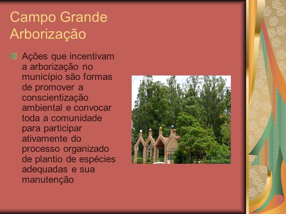 Campo Grande Arborização Ações que incentivam a arborização no município são formas de promover a conscientização ambiental e convocar toda a comunida