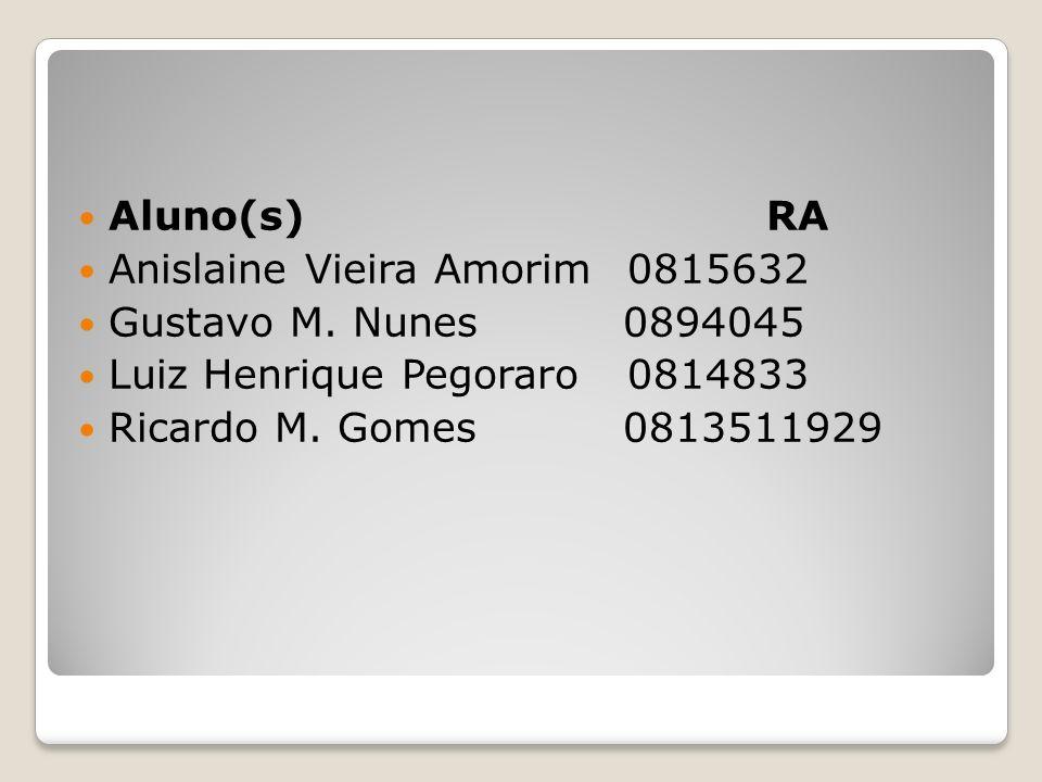Aluno(s) RA Anislaine Vieira Amorim 0815632 Gustavo M. Nunes 0894045 Luiz Henrique Pegoraro 0814833 Ricardo M. Gomes 0813511929