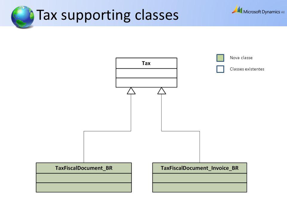 Tax supporting classes Nova classe Classes existentes