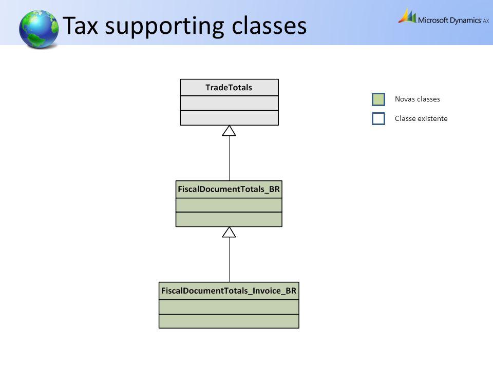 Tax supporting classes Novas classes Classe existente