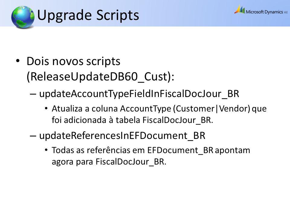 Upgrade Scripts Dois novos scripts (ReleaseUpdateDB60_Cust): – updateAccountTypeFieldInFiscalDocJour_BR Atualiza a coluna AccountType (Customer|Vendor