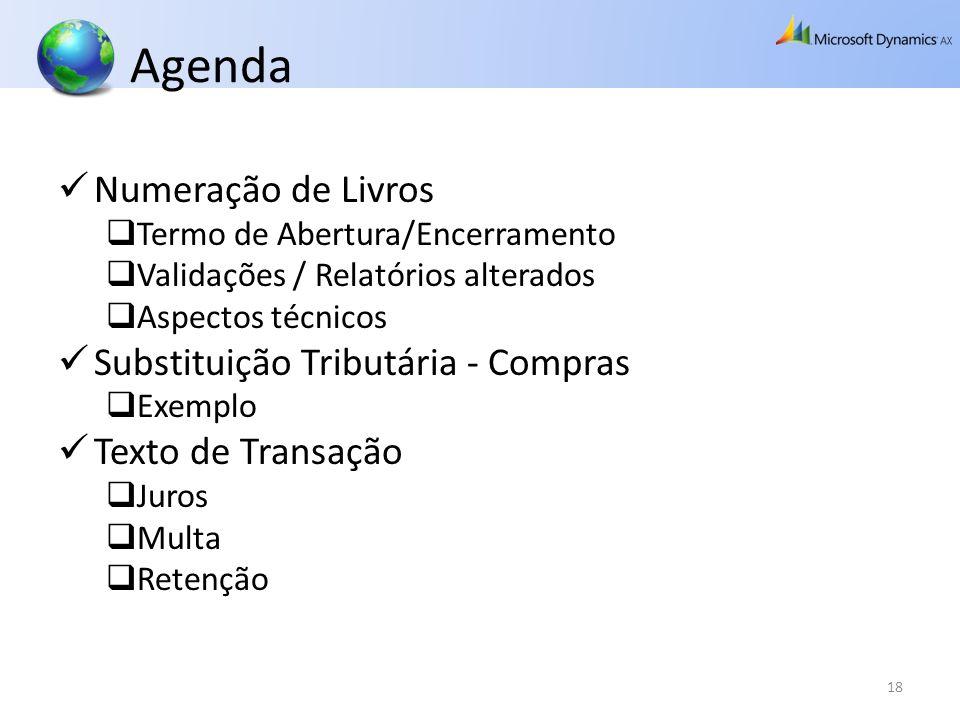 Agenda Numeração de Livros Termo de Abertura/Encerramento Validações / Relatórios alterados Aspectos técnicos Substituição Tributária - Compras Exempl