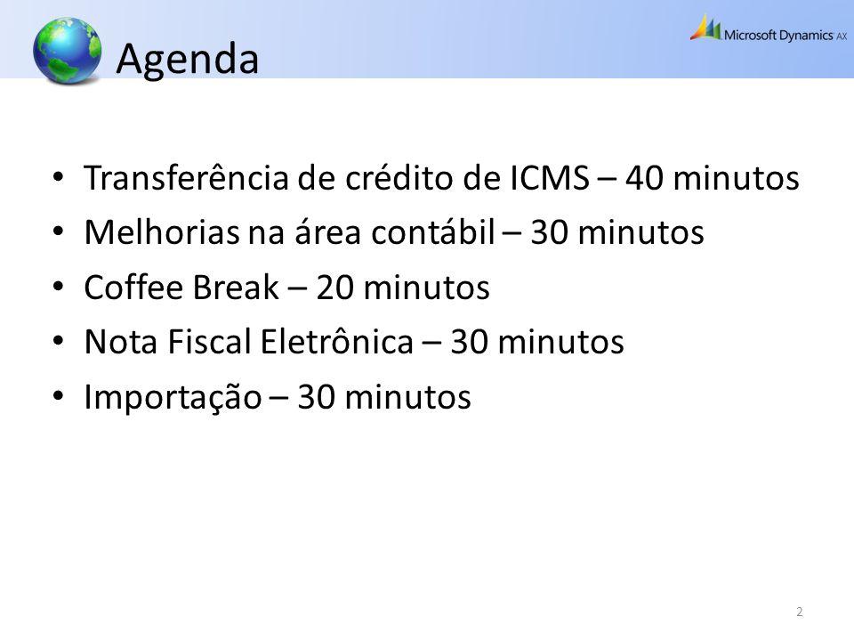 Agenda Transferência de crédito de ICMS – 40 minutos Melhorias na área contábil – 30 minutos Coffee Break – 20 minutos Nota Fiscal Eletrônica – 30 min