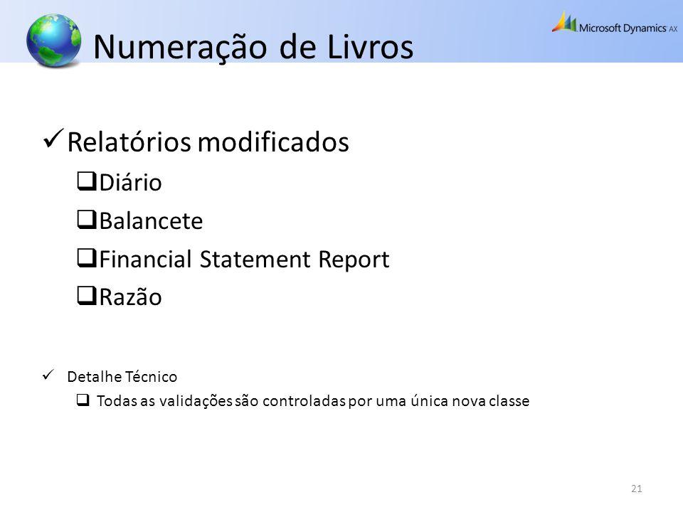 Numeração de Livros Relatórios modificados Diário Balancete Financial Statement Report Razão Detalhe Técnico Todas as validações são controladas por u