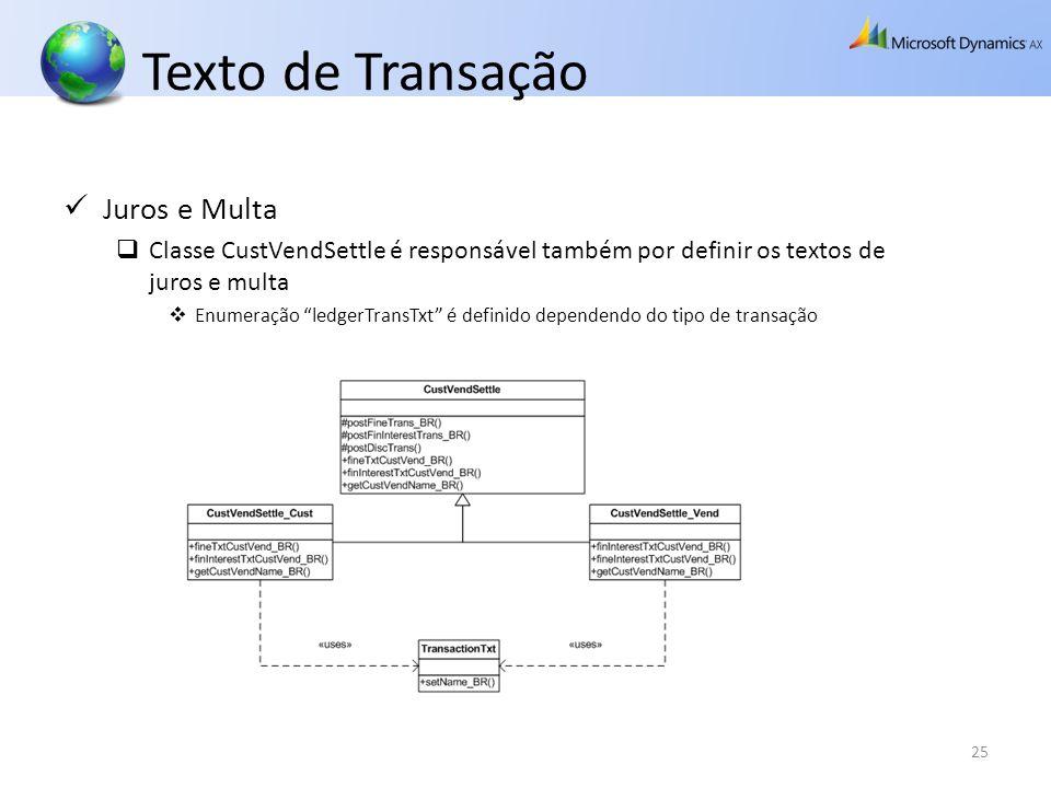 Texto de Transação 25 Juros e Multa Classe CustVendSettle é responsável também por definir os textos de juros e multa Enumeração ledgerTransTxt é defi