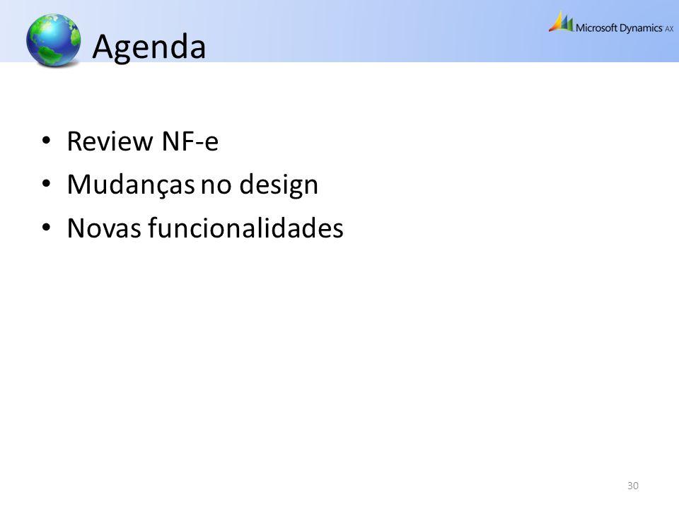 Agenda Review NF-e Mudanças no design Novas funcionalidades 30