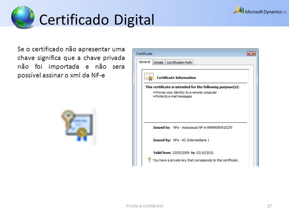 Certificado Digital Private & Confidential 37 Se o certificado não apresentar uma chave significa que a chave privada não foi importada e não sera pos