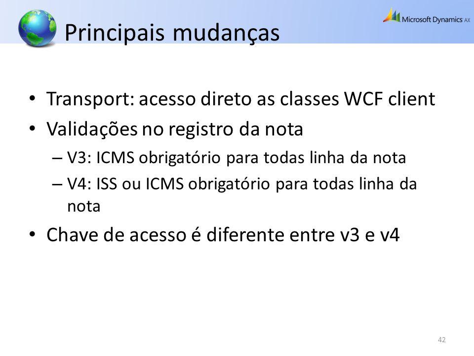 Principais mudanças Transport: acesso direto as classes WCF client Validações no registro da nota – V3: ICMS obrigatório para todas linha da nota – V4
