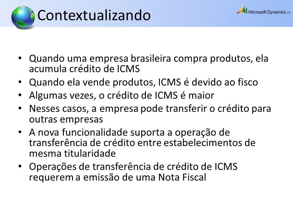 Contabilização Quando uma empresa transfere crédito de ICMS para outra: Quando uma empresa recebe crédito de ICMS: DebitaConta do Passivo CreditaICMS a Recuperar DebitaICMS a Recuperar CreditaConta do Ativo