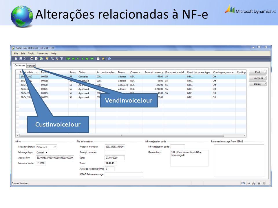 Alterações relacionadas à NF-e CustInvoiceJour VendInvoiceJour
