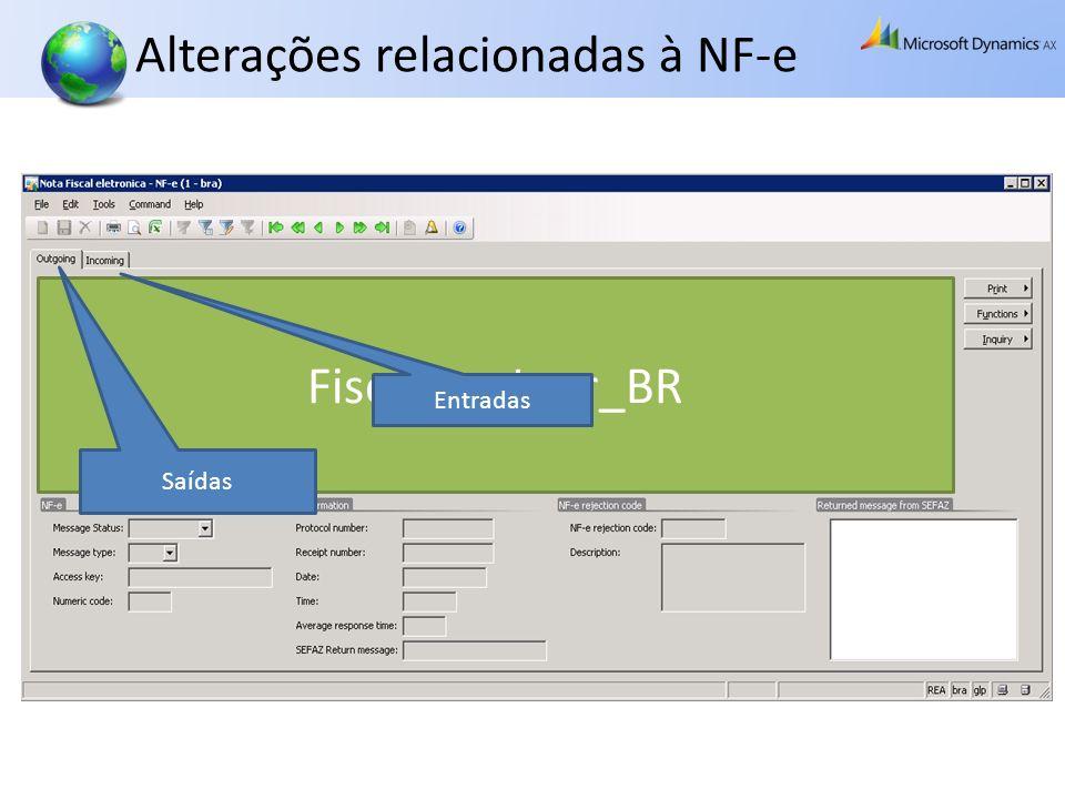 Alterações relacionadas à NF-e FiscalDocJour_BR Saídas Entradas