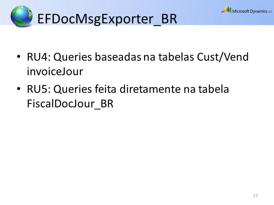 EFDocMsgExporter_BR RU4: Queries baseadas na tabelas Cust/Vend invoiceJour RU5: Queries feita diretamente na tabela FiscalDocJour_BR 53