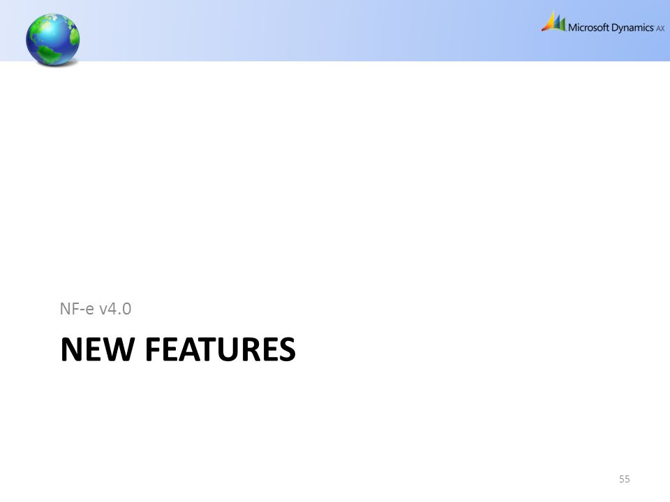 NEW FEATURES NF-e v4.0 55