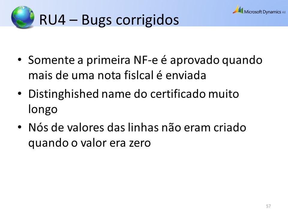 RU4 – Bugs corrigidos Somente a primeira NF-e é aprovado quando mais de uma nota fislcal é enviada Distinghished name do certificado muito longo Nós d