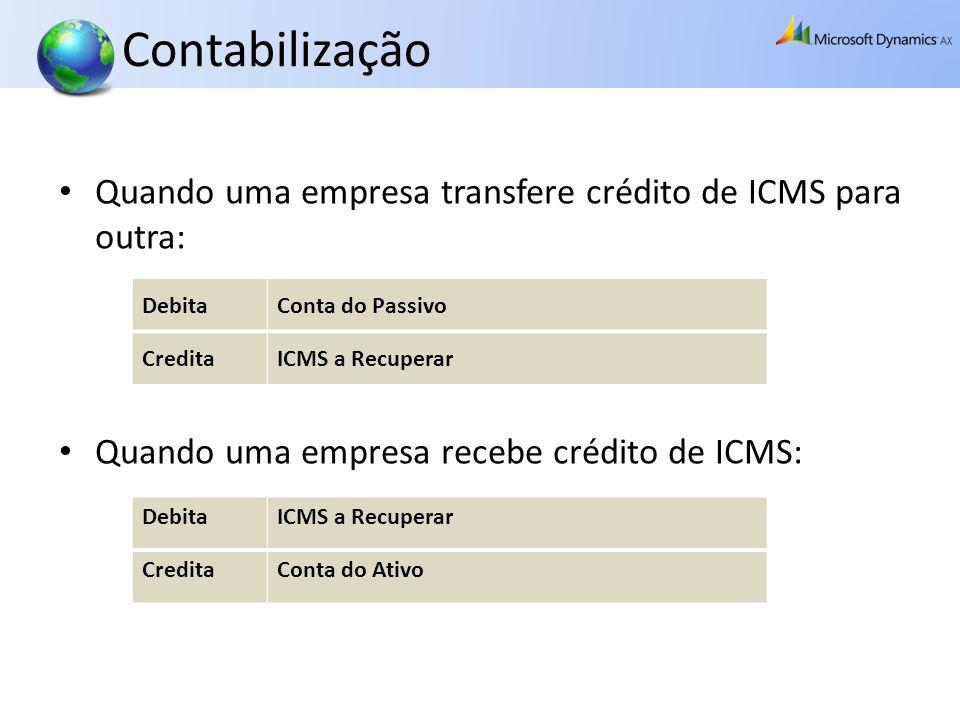 Contabilização Quando uma empresa transfere crédito de ICMS para outra: Quando uma empresa recebe crédito de ICMS: DebitaConta do Passivo CreditaICMS