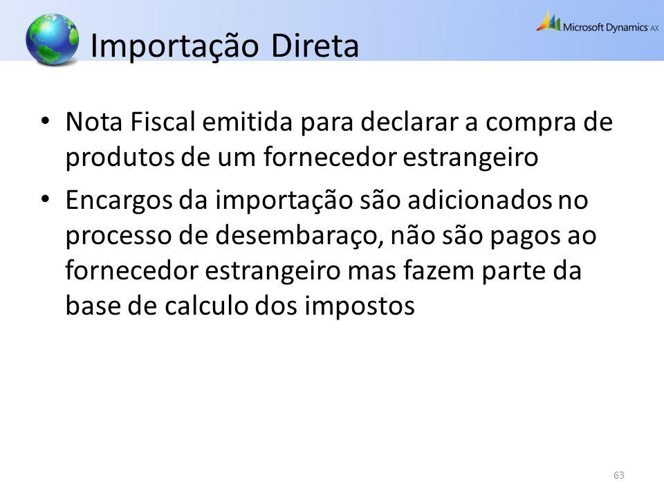 Importação Direta Nota Fiscal emitida para declarar a compra de produtos de um fornecedor estrangeiro Encargos da importação são adicionados no proces