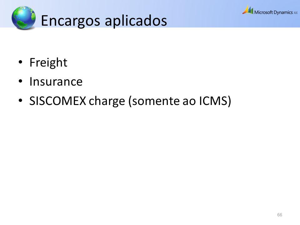 Encargos aplicados Freight Insurance SISCOMEX charge (somente ao ICMS) 66