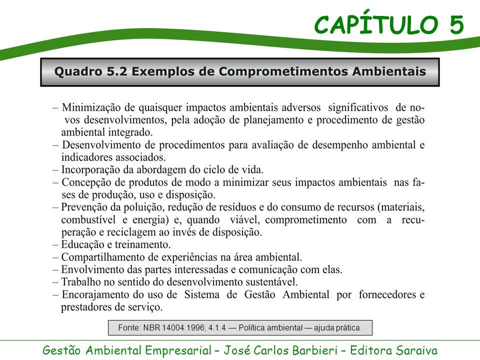 CAPÍTULO 5 Gestão Ambiental Empresarial – José Carlos Barbieri – Editora Saraiva A BS 7750 define SGA como estrutura organizacional, responsabilidades, práticas, procedimentos, processos e recursos para implementar o gerenciamento ambiental.