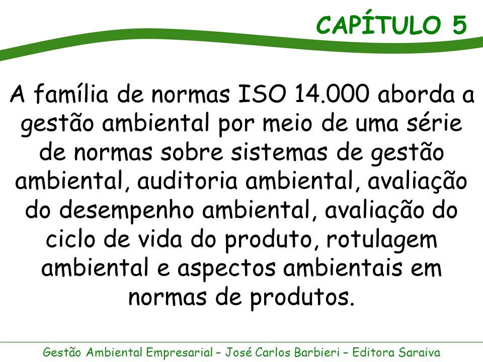 CAPÍTULO 5 Gestão Ambiental Empresarial – José Carlos Barbieri – Editora Saraiva Família de Normas ISO 14000 – Aborda os Enfoques: Organização e Produto Organização - Com as seguintes áreas temáticas.
