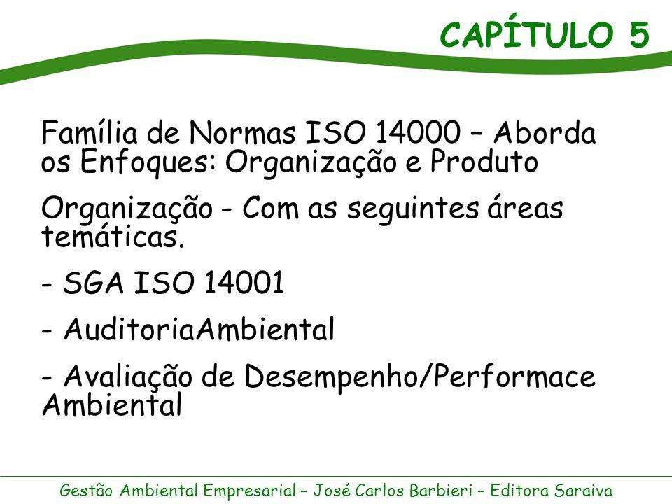 CAPÍTULO 5 Gestão Ambiental Empresarial – José Carlos Barbieri – Editora Saraiva Enfoque Produto – Com as seguintes áreas temáticas: - Rotulagem Ambiental - Avaliação do Ciclo de Vida - Aspectos Ambientais das Normas e Produtos