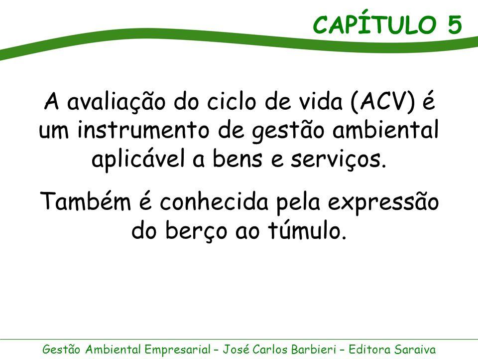 CAPÍTULO 5 Gestão Ambiental Empresarial – José Carlos Barbieri – Editora Saraiva A norma ISO 14.040 define ciclo de vida como os estágios consecutivos e interligados de um sistema de produto, desde a aquisição da matéria-prima ou extração dos recursos naturais até a disposição final.