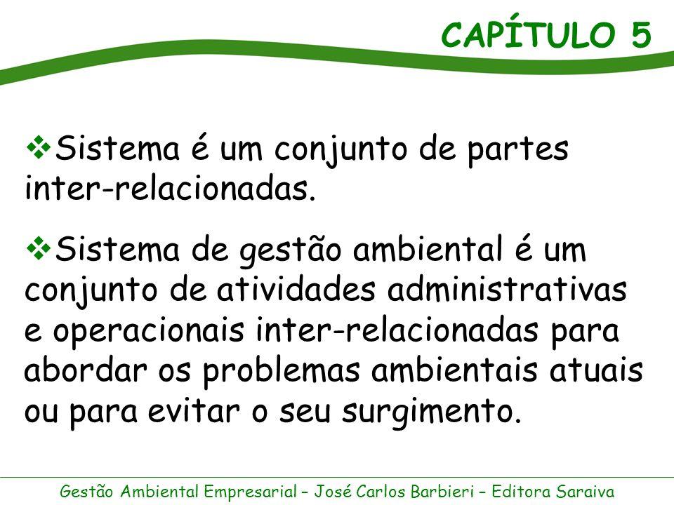 CAPÍTULO 5 Gestão Ambiental Empresarial – José Carlos Barbieri – Editora Saraiva Um Sistema de Gestão Ambiental (SGA) requer a formulação de diretrizes, definição de objetivos, coordenação de atividades e avaliação de resultados.