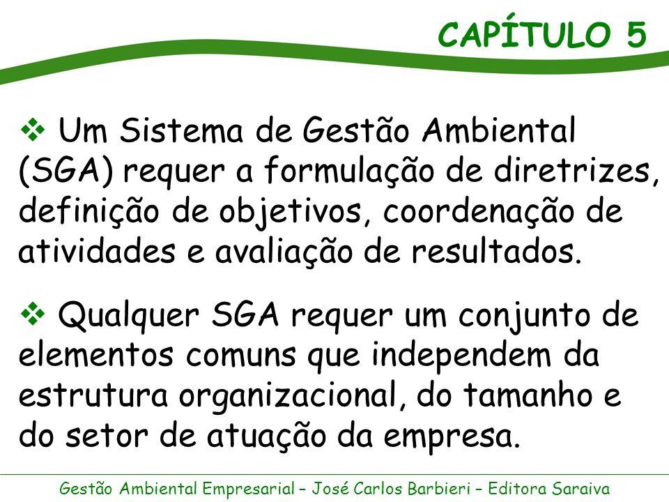 CAPÍTULO 5 Gestão Ambiental Empresarial – José Carlos Barbieri – Editora Saraiva A criação e a operação de um SGA, próprio ou baseado num modelo genérico, podem ser consideradas uma espécie de acordo voluntário unilateral, desde que a empresa se comprometa a alcançar um desempenho superior exigido pelas leis ambientais.