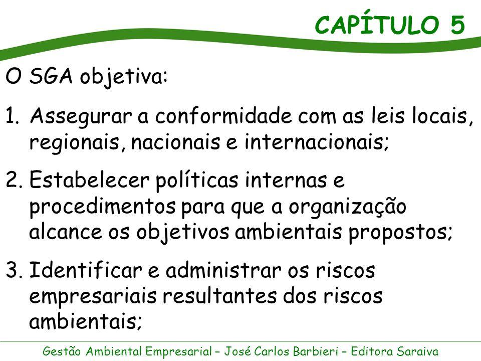 CAPÍTULO 5 Gestão Ambiental Empresarial – José Carlos Barbieri – Editora Saraiva 4.Identificar o nível de recursos e de pessoal apropriado aos riscos e aos objetivos ambientais, garantindo sua disponibilidade quando e onde forem necessários.