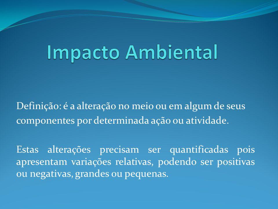 Definição: é a alteração no meio ou em algum de seus componentes por determinada ação ou atividade.