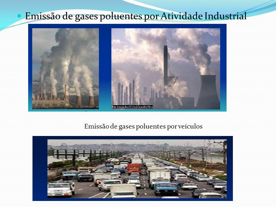 Emissão de gases poluentes por Atividade Industrial Emissão de gases poluentes por veículos