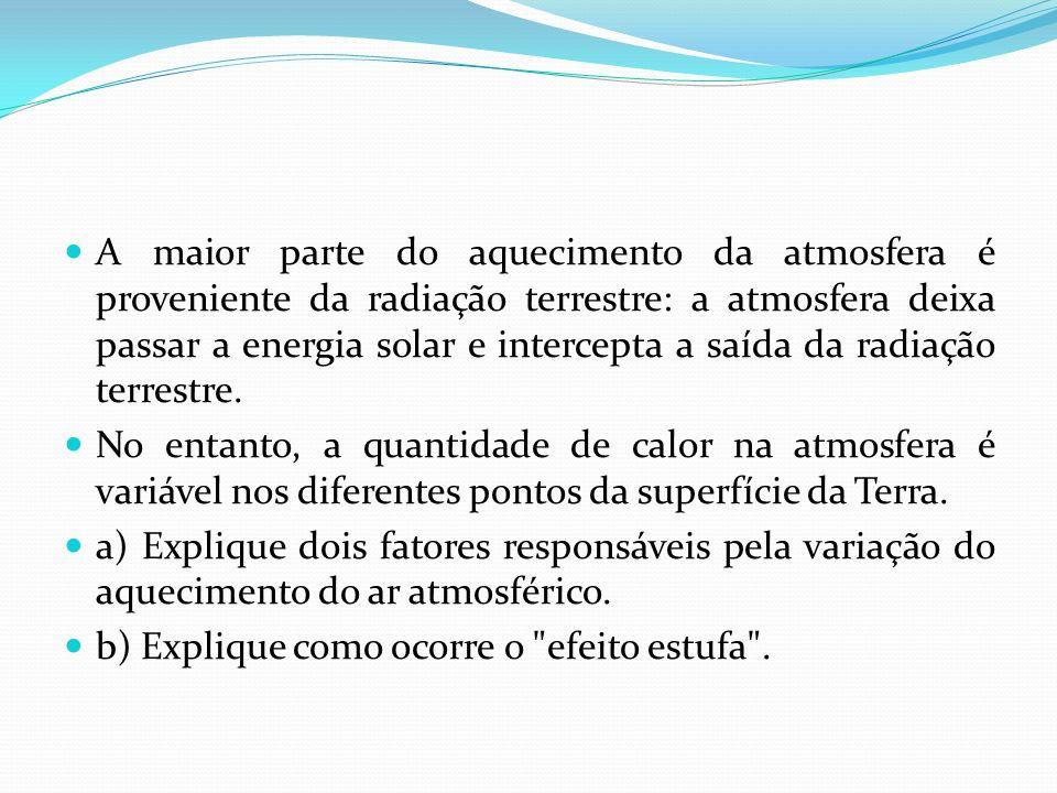 A maior parte do aquecimento da atmosfera é proveniente da radiação terrestre: a atmosfera deixa passar a energia solar e intercepta a saída da radiação terrestre.