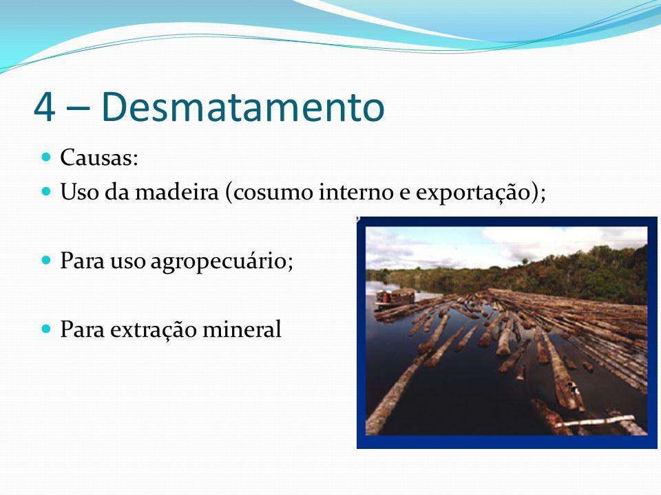 4 – Desmatamento Causas: Uso da madeira (cosumo interno e exportação); Para uso agropecuário; Para extração mineral