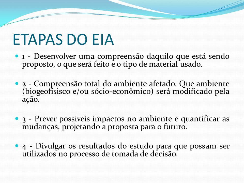 ETAPAS DO EIA 1 - Desenvolver uma compreensão daquilo que está sendo proposto, o que será feito e o tipo de material usado.