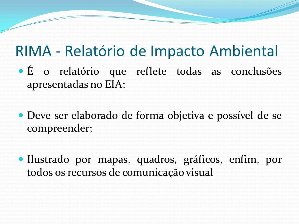 RIMA - Relatório de Impacto Ambiental É o relatório que reflete todas as conclusões apresentadas no EIA; Deve ser elaborado de forma objetiva e possível de se compreender; Ilustrado por mapas, quadros, gráficos, enfim, por todos os recursos de comunicação visual