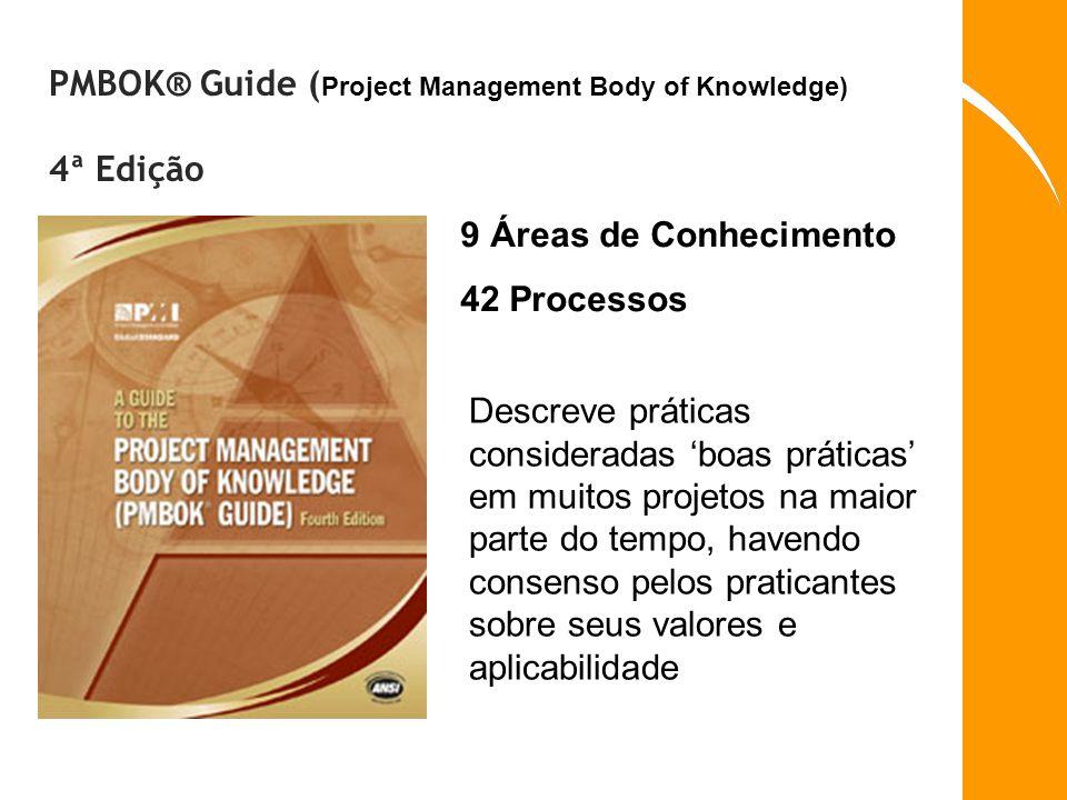 PMBOK® Guide ( Project Management Body of Knowledge) 4ª Edição 9 Áreas de Conhecimento 42 Processos Descreve práticas consideradas boas práticas em mu